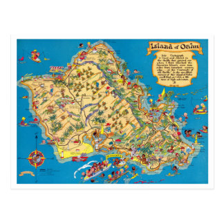 Oahu Funny Vintage Map Postcard