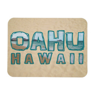 Oahu Hawaii Beach Photo Text Magnet