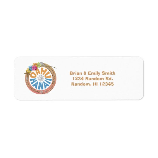 Oahu Hawaii hibiscus holiday return address labels