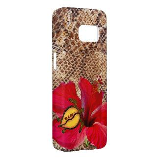 Oahu Hawaii Hibiscus on Snakeskin Samsung Galaxy S7 Case