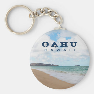 Oahu Hawaii Ocean Waves & Beach Basic Round Button Keychain