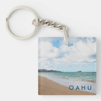 Oahu Hawaii Ocean Waves & Beach Double-Sided Square Acrylic Keychain