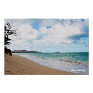 Oahu Hawaii Ocean Waves & Beach Poster