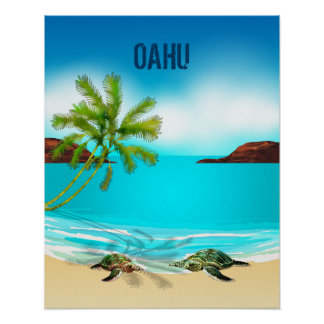 Oahu Hawaii Travel Poster