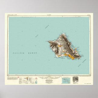 Oahu, Hawaii--Vintage 1954 Map Poster