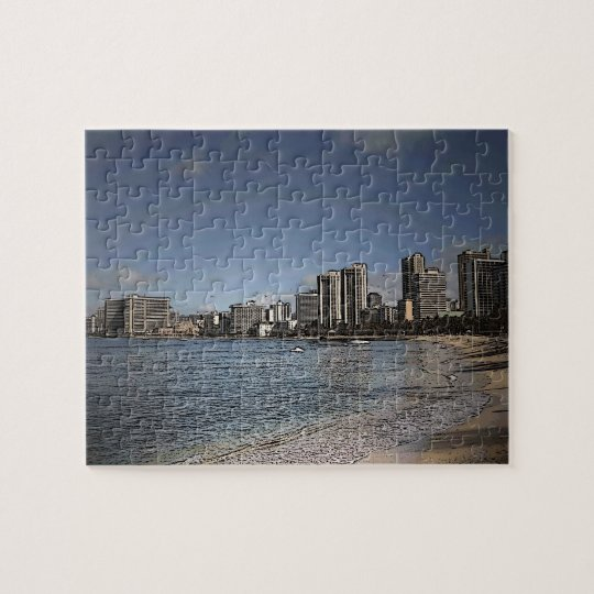 Oahu Hawaii Waikiki beach scene puzzle