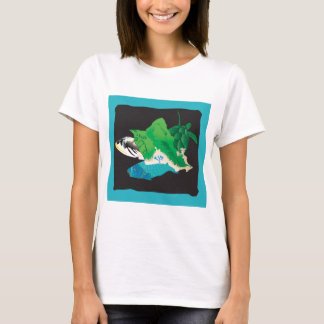 Oahu Map - Turtle, Tigger and Parrot Fish T-Shirt