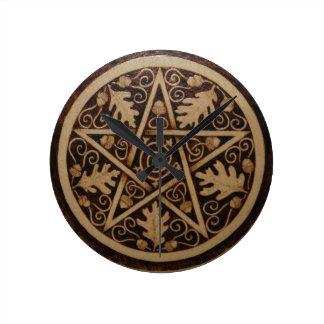 Oak and Acorn Pentacle Wall Clock