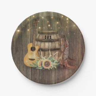 Oak Barrel Rustic Country Wood Cowboy Boots Paper Plate