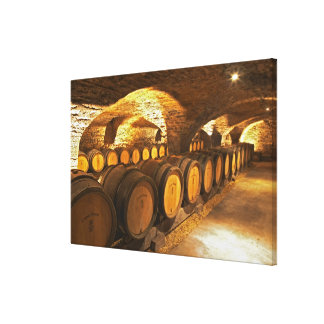 Oak barrles in the cellar at Domaine Comte Canvas Print