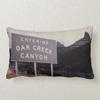 Oak Creek Canyon, Retro Arizona Desert Landscape Lumbar Pillow
