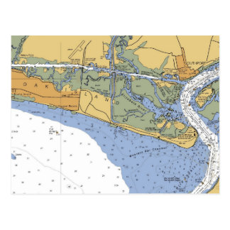Oak Island, NC Nautical Chart Postcard