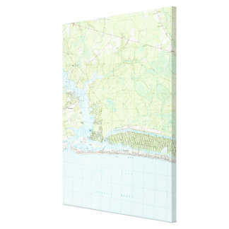 Oak Island North Carolina Map (1990) Canvas Print