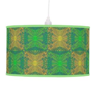 Oak King, bohemian floral pattern, green & yellow Pendant Lamp