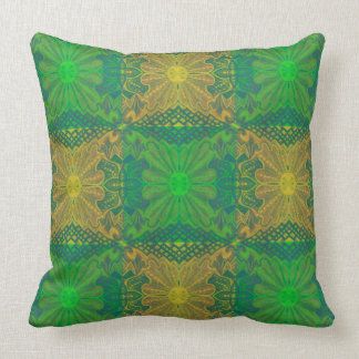 Oak King, bohemian floral pattern, green & yellow Throw Pillow