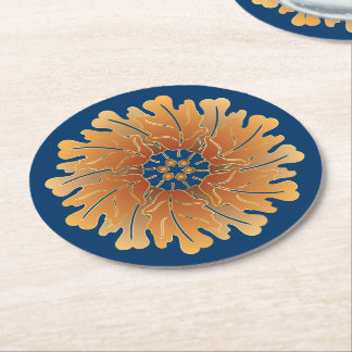 Oak Leaf and Acorn Rosette Round Paper Coaster