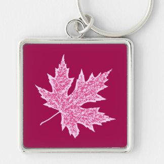 Oak leaf - burgundy wine and pink keychain