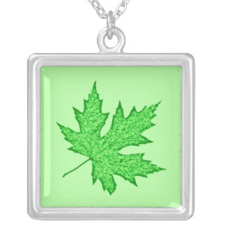 Oak leaf - shades of green silver plated necklace