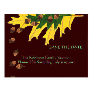 Oak Leaves and Acorn Family Reunion Save the Date Postcard