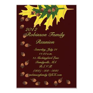 "Oak Leaves and Acorns Family Reunion 5"" X 7"" Invitation Card"