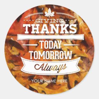 Oak Leaves Thanksgiving Fall Autumn Harvest Label