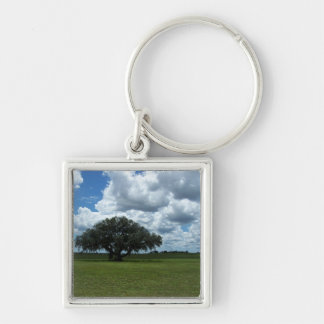 Oak Tree and Clouds Keychain