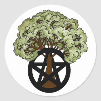 Oak Tree and Pagan Pentacle Classic Round Sticker