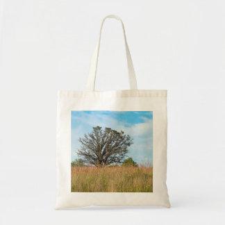 Oak Tree and Tall Grass Prairie Tote Bag