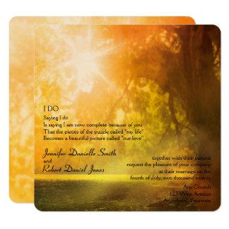 Oak Tree at Sunset Wedding Card