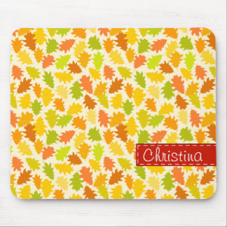Oak tree autumn leaves mouse pad