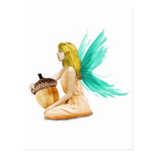Oak Tree Fairy holding Acorn Postcard