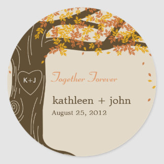 Oak Tree Fall Wedding Favor Sticker Sticker
