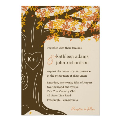 Oak Tree Fall Wedding Invitation Personalized Announcements