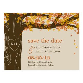 Oak Tree Fall Wedding Save The Date Postcard