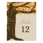 Oak Tree Fall Wedding Table Number Card