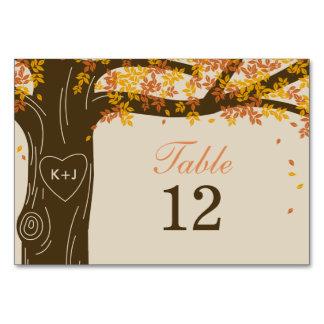 Oak Tree Fall Wedding Table Number Card Table Card