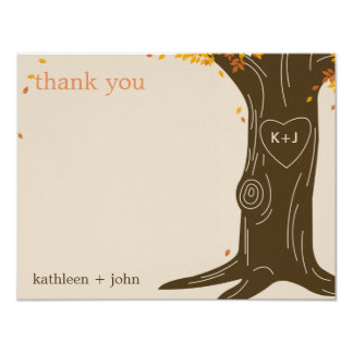 Oak Tree Fall Wedding Thank You Card
