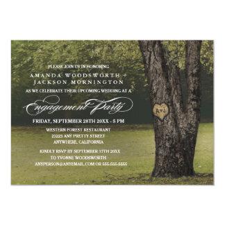 Oak Tree Initials Engagement Party Invitations