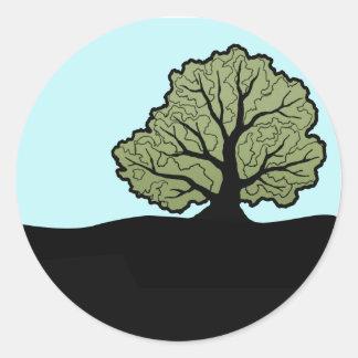 Oak Tree on a Hillside Classic Round Sticker