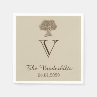 Oak Tree on Burlap Wedding Napkin Disposable Napkins