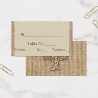 Oak Tree on Burlap Wedding Place Cards