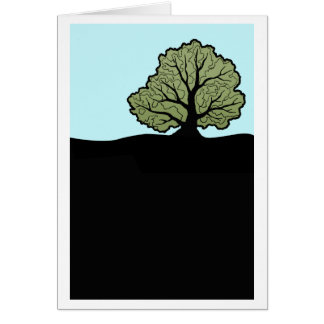 Oak tree on hillside graphic card