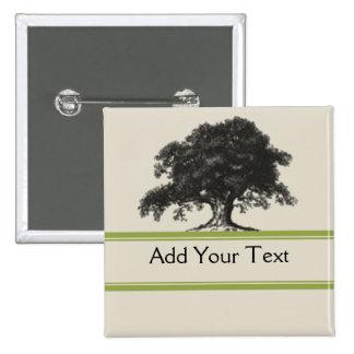 Oak Tree Plantation in Green 2 Inch Square Button