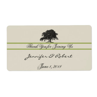 Oak Tree Plantation in Green Water Bottle Label