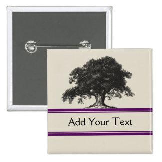 Oak Tree Plantation in Purple 2 Inch Square Button