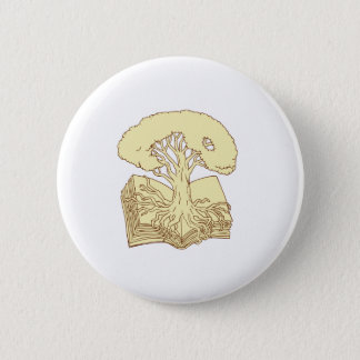 Oak Tree Rooted on Book Drawing 2 Inch Round Button