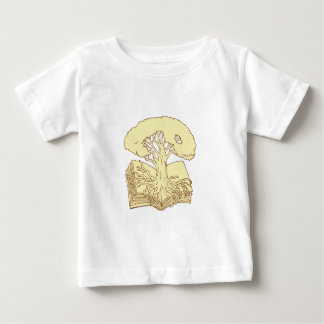 Oak Tree Rooted on Book Drawing Baby T-Shirt