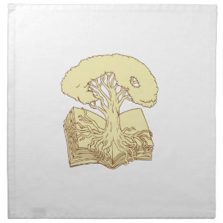 Oak Tree Rooted on Book Drawing Napkin