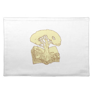 Oak Tree Rooted on Book Drawing Placemat