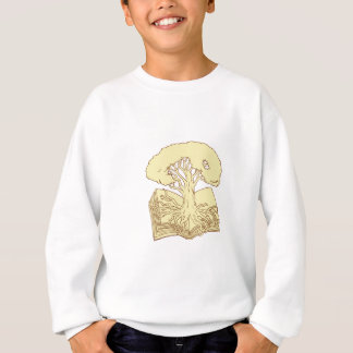 Oak Tree Rooted on Book Drawing Sweatshirt